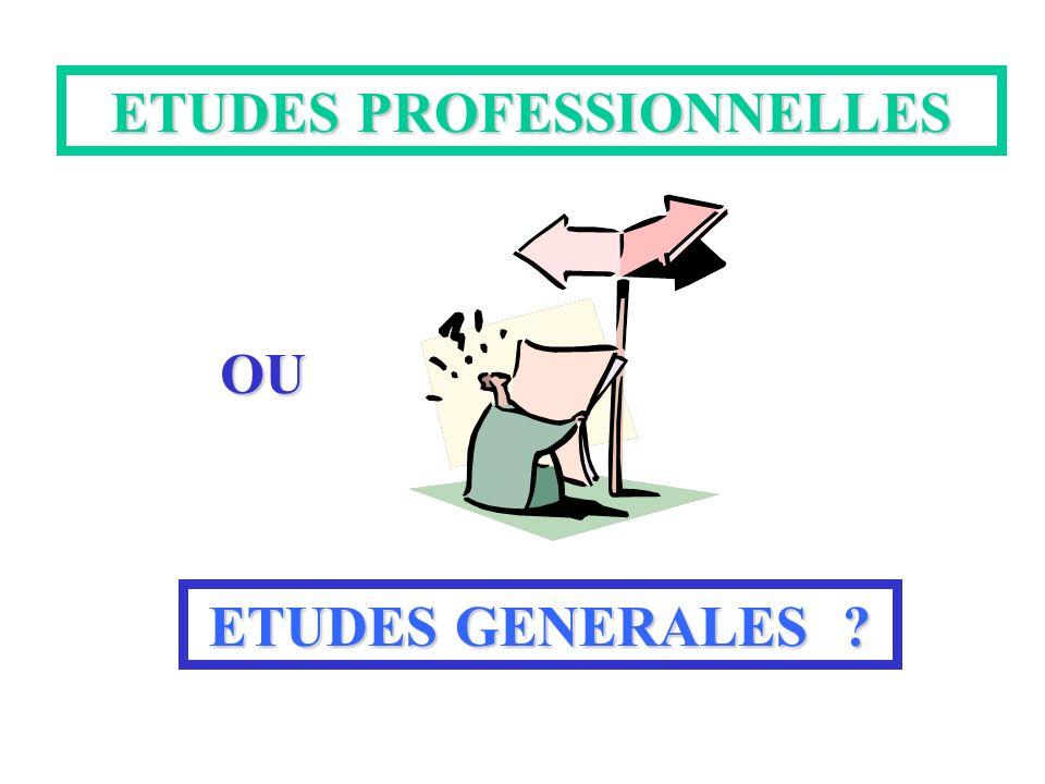 ETUDES PROFESSIONNELLES OU ETUDES GENERALES