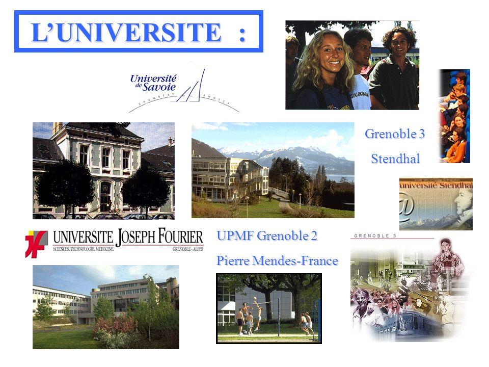 UPMF Grenoble 2 Pierre Mendes-France Grenoble 3 Stendhal