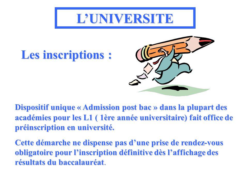 LUNIVERSITE Les inscriptions : Dispositif unique « Admission post bac » dans la la plupart des académies pour les L1 ( 1ère année universitaire) fait office de préinscription en université.