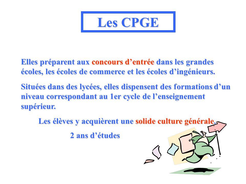 Les CPGE Elles préparent aux concours dentrée dans les grandes écoles, les écoles de commerce et les écoles dingénieurs.