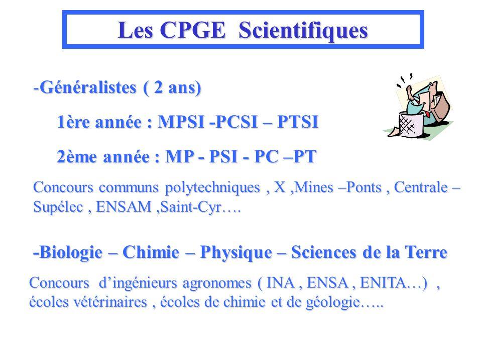 Les CPGE Scientifiques -Généralistes ( 2 ans) 1ère année : MPSI -PCSI – PTSI 1ère année : MPSI -PCSI – PTSI 2ème année : MP - PSI - PC –PT 2ème année : MP - PSI - PC –PT Concours communs polytechniques, X,Mines –Ponts, Centrale – Supélec, ENSAM,Saint-Cyr….