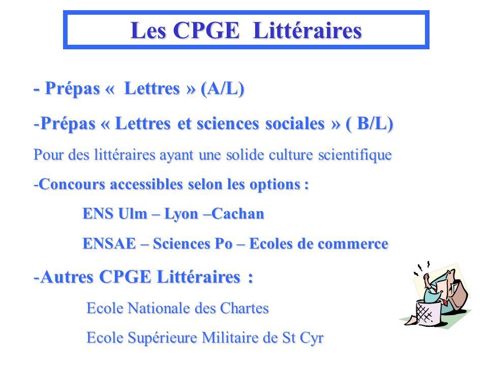 Les CPGE CPGE Littéraires - Prépas « Lettres » (A/L) -Prépas « Lettres et sciences sociales » ( B/L) Pour des littéraires ayant une solide culture sci