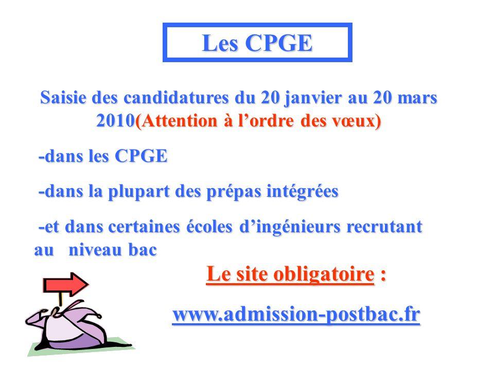 Les CPGE Le site obligatoire : www.admission-postbac.fr Saisie des candidatures du 20 janvier au 20 mars 2010(Attention 2010(Attention à lordre des vœux) -dans les CPGE -dans la plupart des prépas intégrées -et dans certaines écoles dingénieurs recrutant au niveau bac