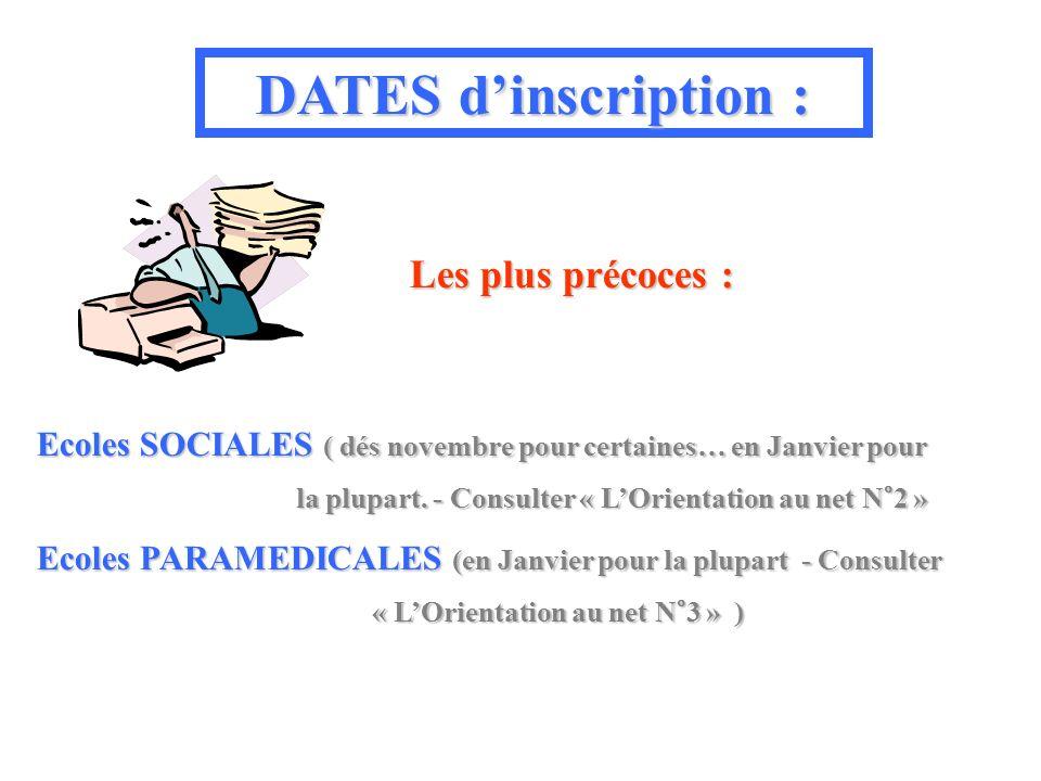 DATES dinscription : Les plus précoces : Ecoles SOCIALES ( dés novembre pour certaines… en Janvier pour la plupart.