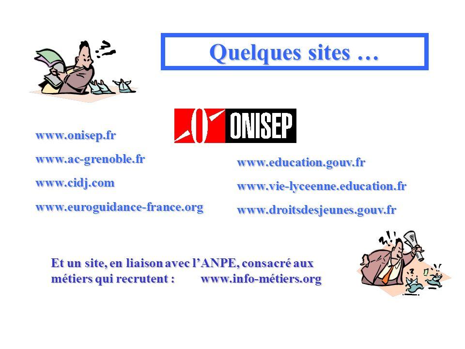 Quelques sites … www.onisep.frwww.ac-grenoble.frwww.cidj.comwww.euroguidance-france.org www.education.gouv.frwww.vie-lyceenne.education.frwww.droitsdesjeunes.gouv.fr Et un site, en liaison avec lANPE, consacré aux métiers qui recrutent : www.info-métiers.org