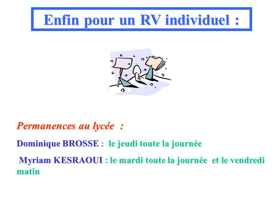 Permanences au lycée : Dominique BROSSE BROSSE : le jeudi toute la journée Myriam KESRAOUI KESRAOUI : le mardi mardi toute la journée journée et le vendredi matin Enfin pour un RV individuel :