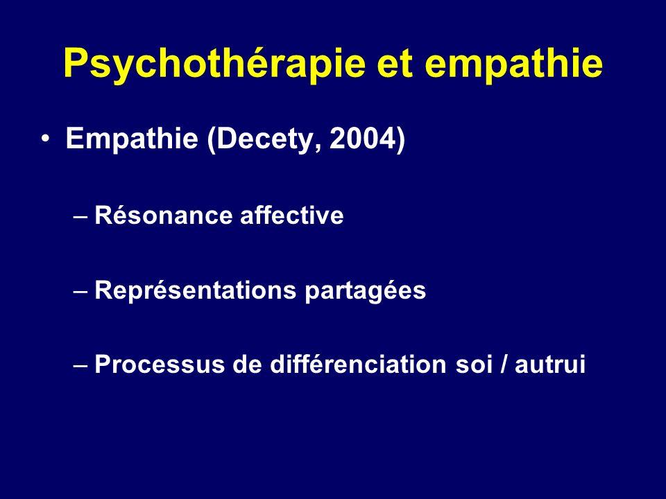 Psychothérapie et empathie Empathie (Decety, 2004) –Résonance affective –Représentations partagées –Processus de différenciation soi / autrui
