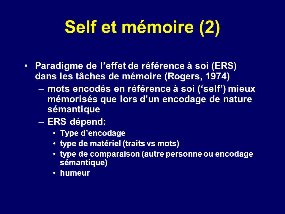 Self et mémoire (2) Paradigme de leffet de référence à soi (ERS) dans les tâches de mémoire (Rogers, 1974) –mots encodés en référence à soi (self) mie