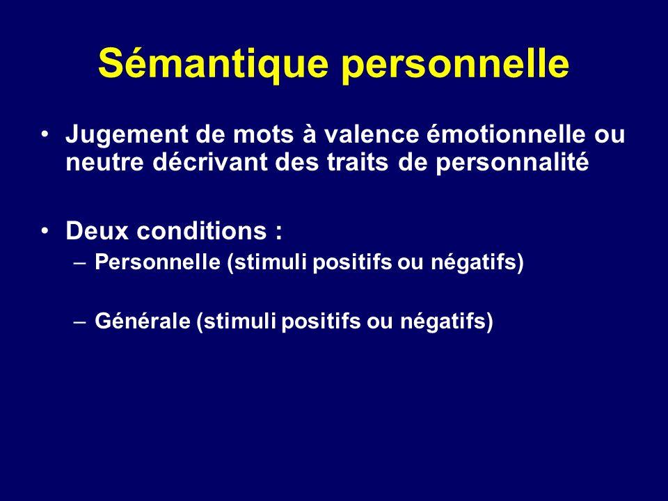 Sémantique personnelle Jugement de mots à valence émotionnelle ou neutre décrivant des traits de personnalité Deux conditions : –Personnelle (stimuli