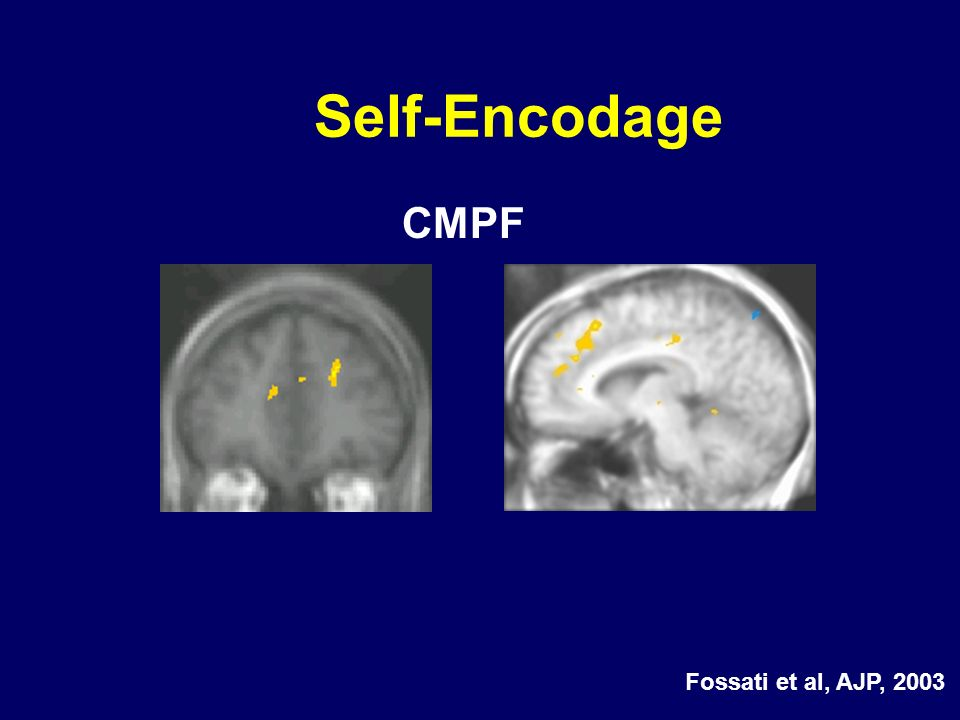 CMPF Self-Encodage Fossati et al, AJP, 2003
