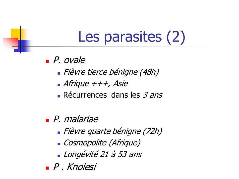 Les parasites (2) P. ovale Fièvre tierce bénigne (48h) Afrique +++, Asie Récurrences dans les 3 ans P. malariae Fièvre quarte bénigne (72h) Cosmopolit
