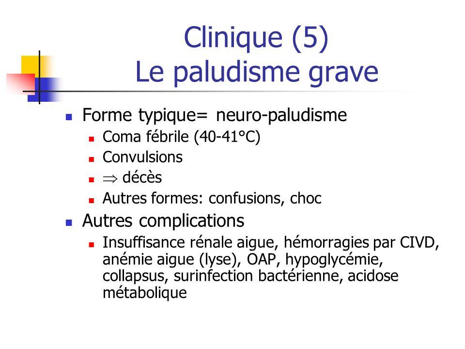 Clinique (5) Le paludisme grave Forme typique= neuro-paludisme Coma fébrile (40-41°C) Convulsions décès Autres formes: confusions, choc Autres complic