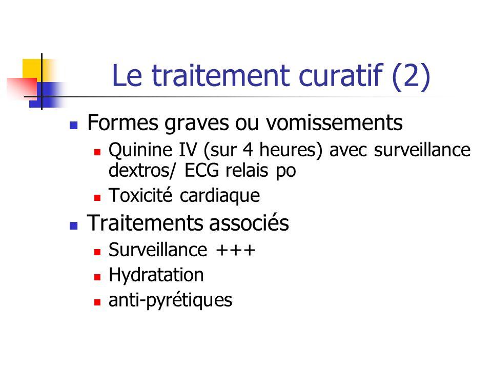 Le traitement curatif (2) Formes graves ou vomissements Quinine IV (sur 4 heures) avec surveillance dextros/ ECG relais po Toxicité cardiaque Traiteme