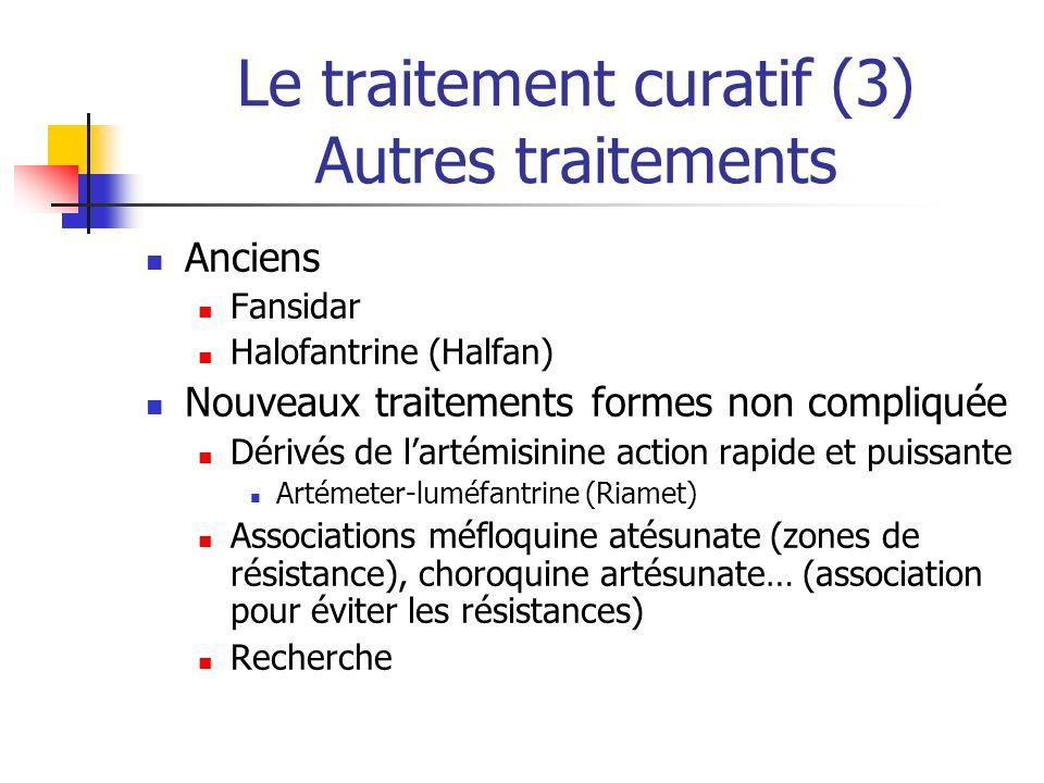 Le traitement curatif (3) Autres traitements Anciens Fansidar Halofantrine (Halfan) Nouveaux traitements formes non compliquée Dérivés de lartémisinin
