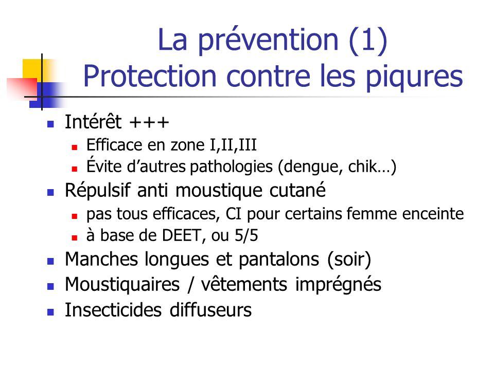 La prévention (1) Protection contre les piqures Intérêt +++ Efficace en zone I,II,III Évite dautres pathologies (dengue, chik…) Répulsif anti moustiqu