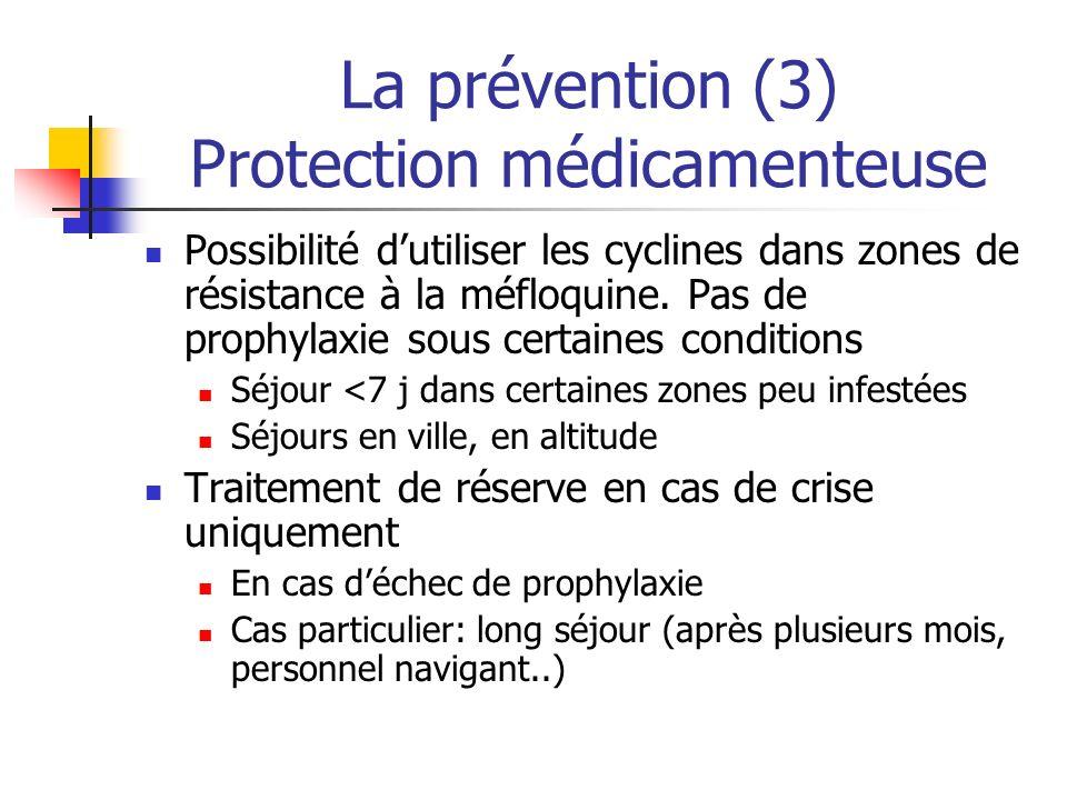 La prévention (3) Protection médicamenteuse Possibilité dutiliser les cyclines dans zones de résistance à la méfloquine. Pas de prophylaxie sous certa