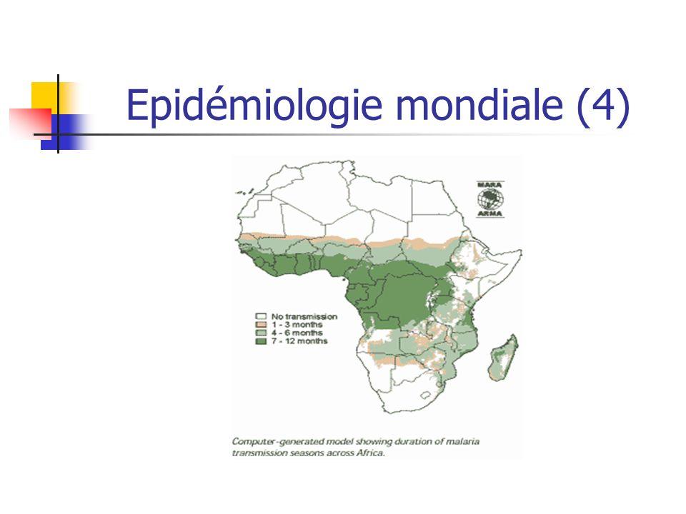 Epidémiologie mondiale (5) Extension du paludisme Extension des gîtes à anophèle Conditions socio-économiques Résistances aux insecticides Extension des résistances des parasites Liée à une mauvaise utilisation des anti- paludéens Années 50-60 : résistance à la chloroquine Actuellement 3 zones géographiques