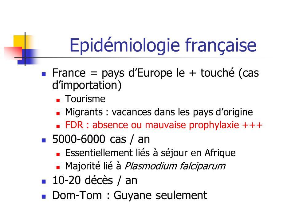 Epidémiologie française France = pays dEurope le + touché (cas dimportation) Tourisme Migrants : vacances dans les pays dorigine FDR : absence ou mauv