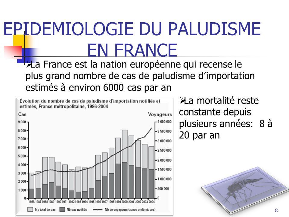 8 EPIDEMIOLOGIE DU PALUDISME EN FRANCE La France est la nation européenne qui recense le plus grand nombre de cas de paludisme dimportation estimés à