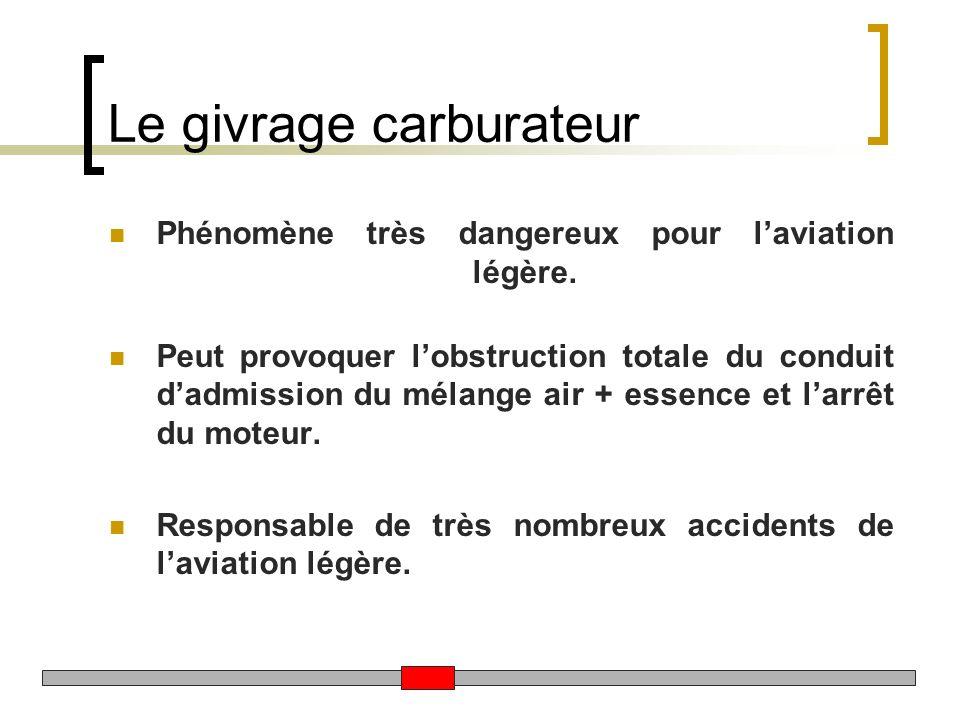 Le givrage carburateur Phénomène très dangereux pour laviation légère. Peut provoquer lobstruction totale du conduit dadmission du mélange air + essen