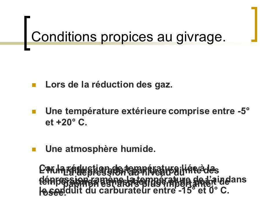 Conditions propices au givrage. Lors de la réduction des gaz. Une température extérieure comprise entre -5° et +20° C. Une atmosphère humide. La dépre