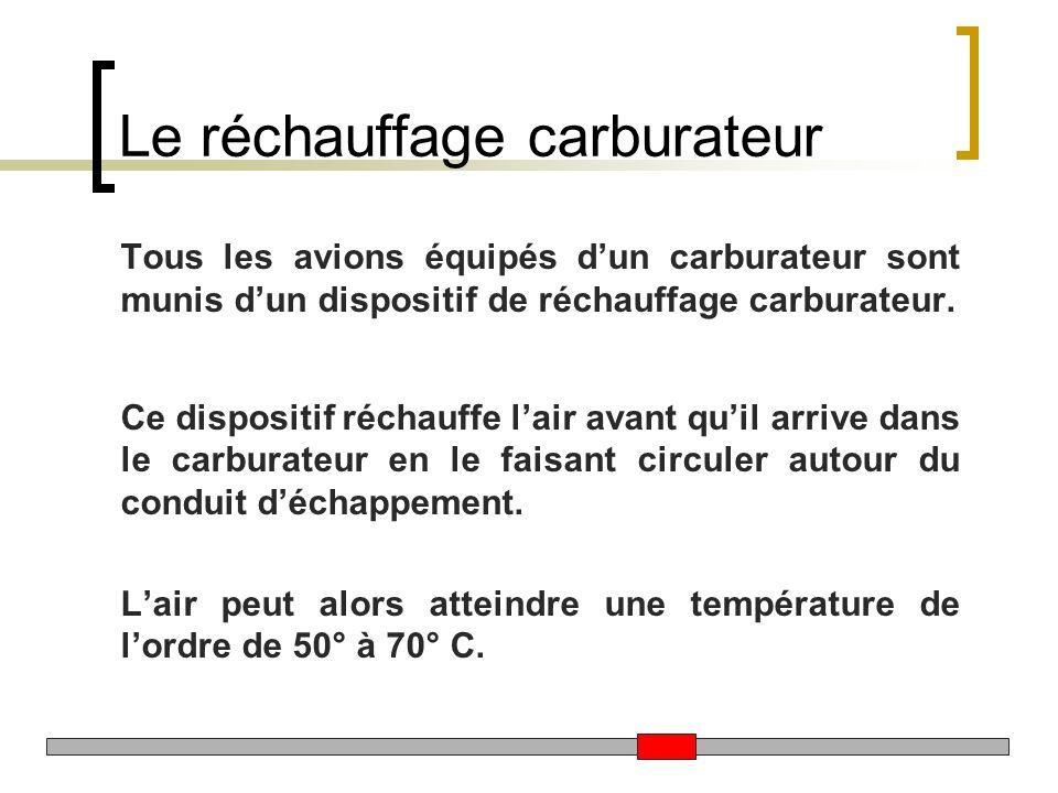 Le réchauffage carburateur Tous les avions équipés dun carburateur sont munis dun dispositif de réchauffage carburateur. Ce dispositif réchauffe lair