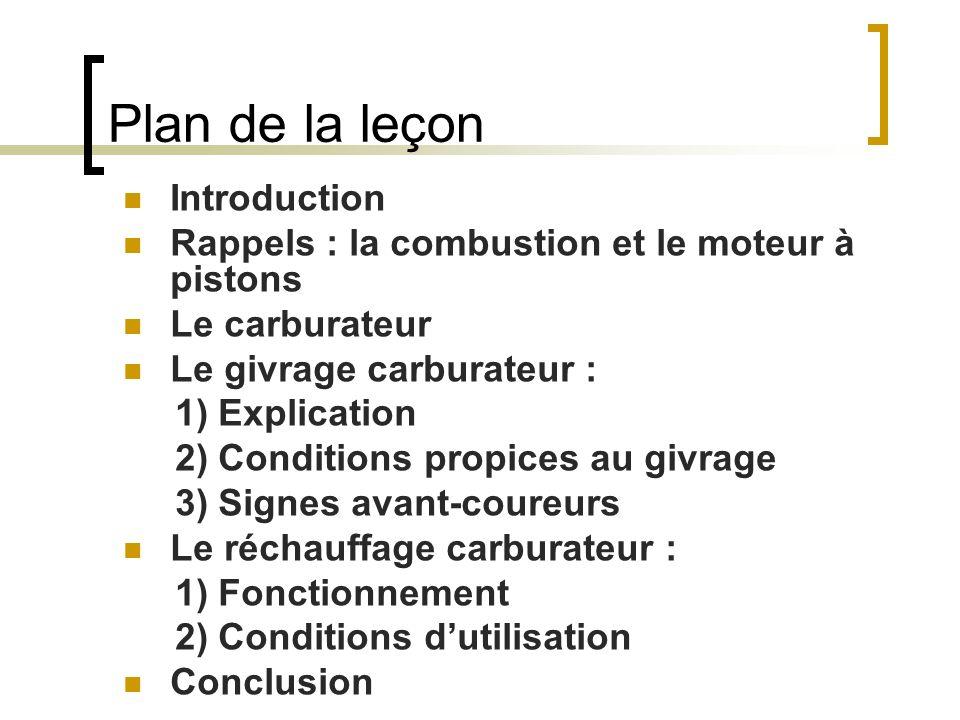 Plan de la leçon Introduction Rappels : la combustion et le moteur à pistons Le carburateur Le givrage carburateur : 1) Explication 2) Conditions prop