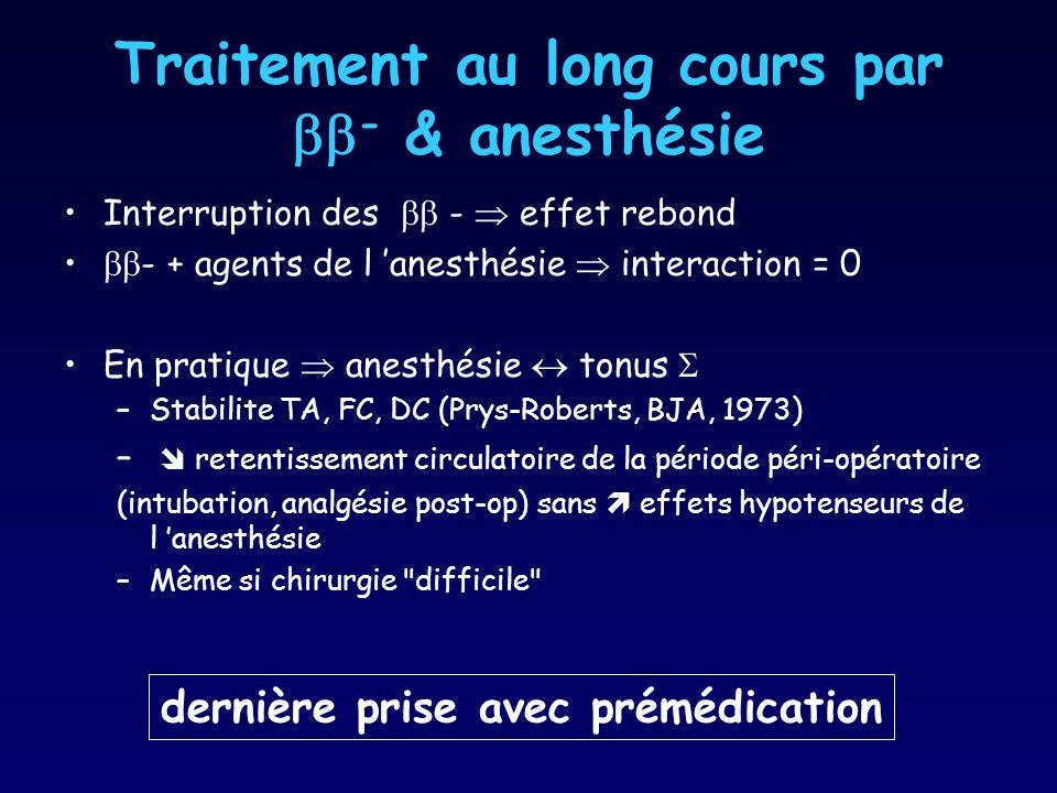 Traitement au long cours par - & anesthésie Interruption des - effet rebond - + agents de l anesthésie interaction = 0 En pratique anesthésie tonus –S