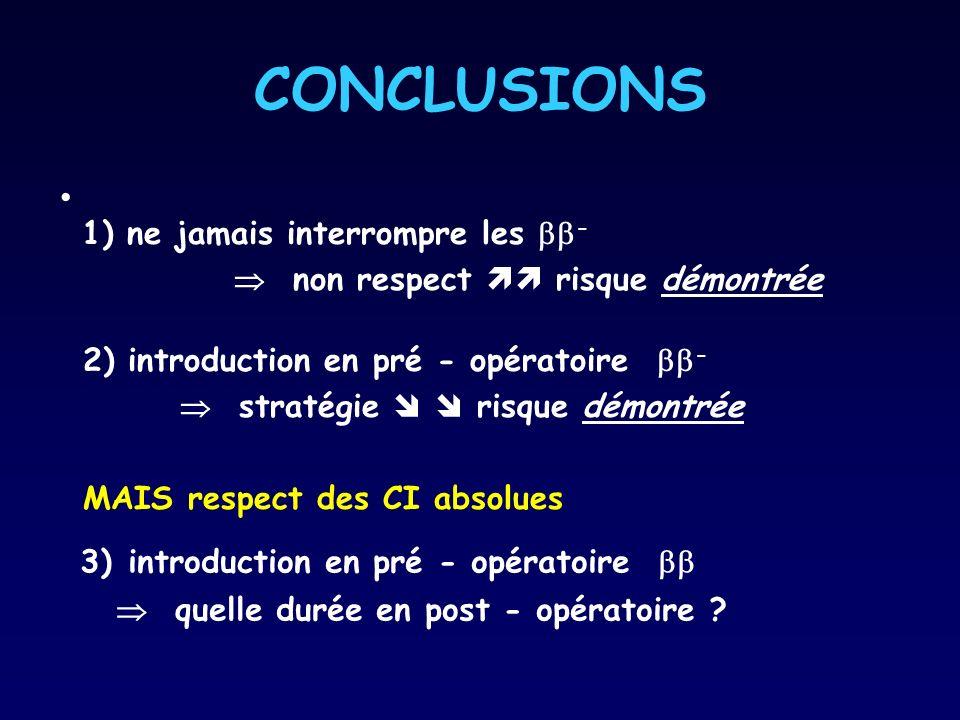 CONCLUSIONS 1) ne jamais interrompre les - non respect risque démontrée 2) introduction en pré - opératoire - stratégie risque démontrée MAIS respect