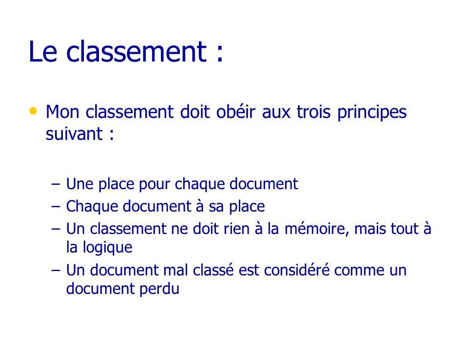 Le classement : Mon classement doit obéir aux trois principes suivant : –Une place pour chaque document –Chaque document à sa place –Un classement ne