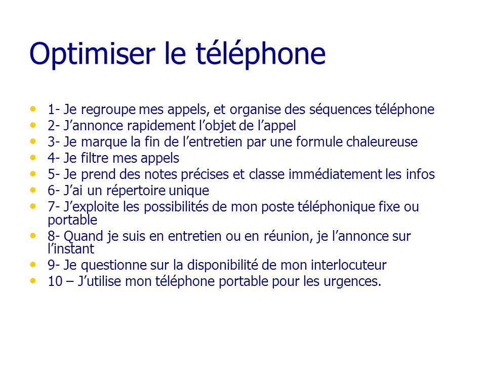 Optimiser le téléphone 1- Je regroupe mes appels, et organise des séquences téléphone 2- Jannonce rapidement lobjet de lappel 3- Je marque la fin de l