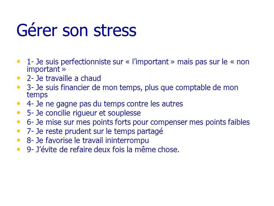 Gérer son stress 1- Je suis perfectionniste sur « limportant » mais pas sur le « non important » 2- Je travaille a chaud 3- Je suis financier de mon t