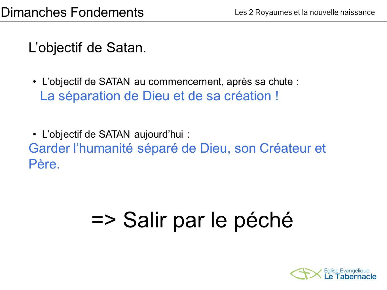 Dimanches Fondements Lobjectif de Satan. Les 2 Royaumes et la nouvelle naissance Lobjectif de SATAN au commencement, après sa chute : La séparation de