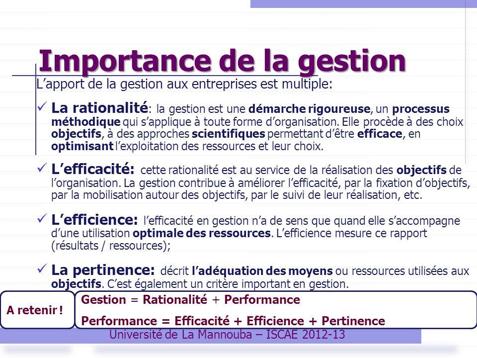 Importance de la gestion Lapport de la gestion aux entreprises est multiple: La rationalité : la gestion est une démarche rigoureuse, un processus mét