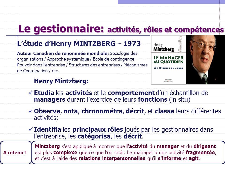 Le gestionnaire: activités, rôles et compétences Létude dHenry MINTZBERG - 1973 Auteur Canadien de renommée mondiale: Sociologie des organisations / A