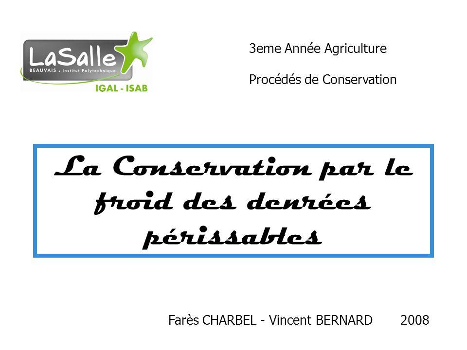 La Conservation par le froid des denrées périssables Farès CHARBEL - Vincent BERNARD 2008 3eme Année Agriculture Procédés de Conservation