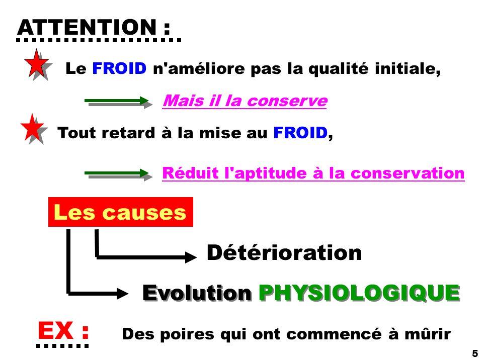 5 ATTENTION : Le FROID n'améliore pas la qualité initiale, Mais il la conserve Tout retard à la mise au FROID, Réduit l'aptitude à la conservation Les