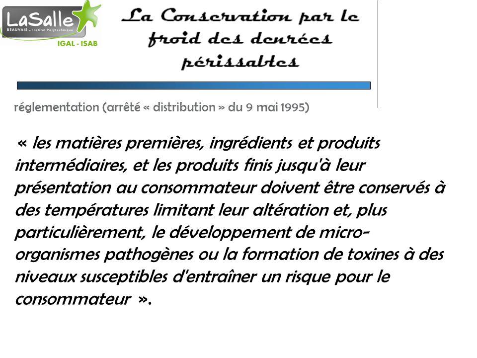 réglementation (arrêté « distribution » du 9 mai 1995) « les matières premières, ingrédients et produits intermédiaires, et les produits finis jusqu'à