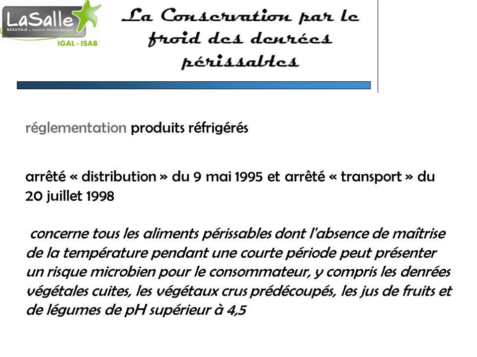 réglementation produits réfrigérés arrêté « distribution » du 9 mai 1995 et arrêté « transport » du 20 juillet 1998 concerne tous les aliments périssa