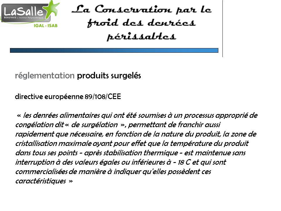 réglementation produits surgelés directive européenne 89/108/CEE « les denrées alimentaires qui ont été soumises à un processus approprié de congélati