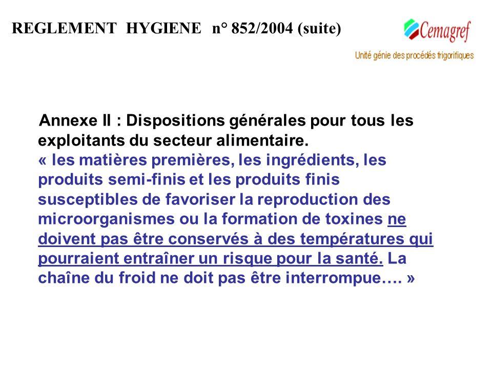 Annexe II : Dispositions générales pour tous les exploitants du secteur alimentaire. « les matières premières, les ingrédients, les produits semi-fini