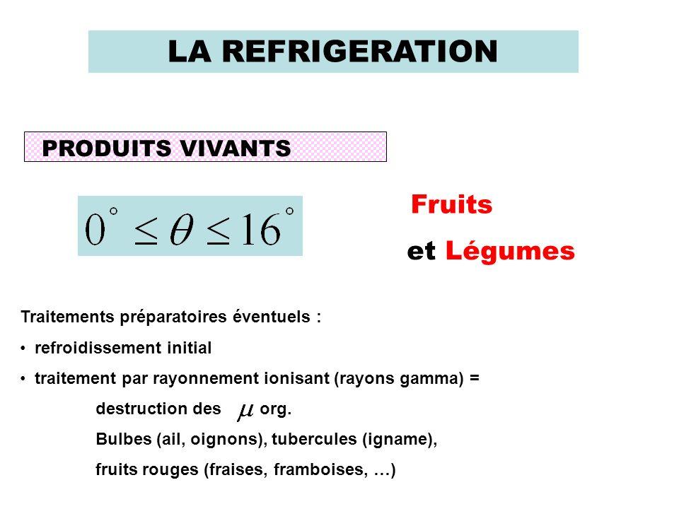 LA REFRIGERATION PRODUITS VIVANTS Fruits et Légumes Traitements préparatoires éventuels : refroidissement initial traitement par rayonnement ionisant