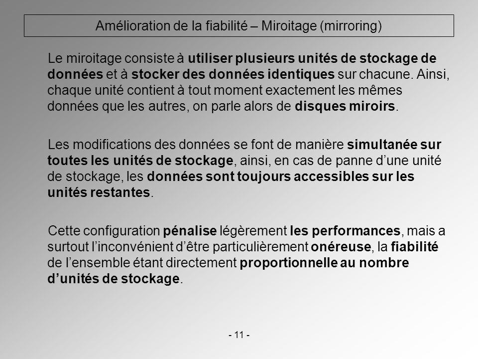 - 11 - Amélioration de la fiabilité – Miroitage (mirroring) Le miroitage consiste à utiliser plusieurs unités de stockage de données et à stocker des