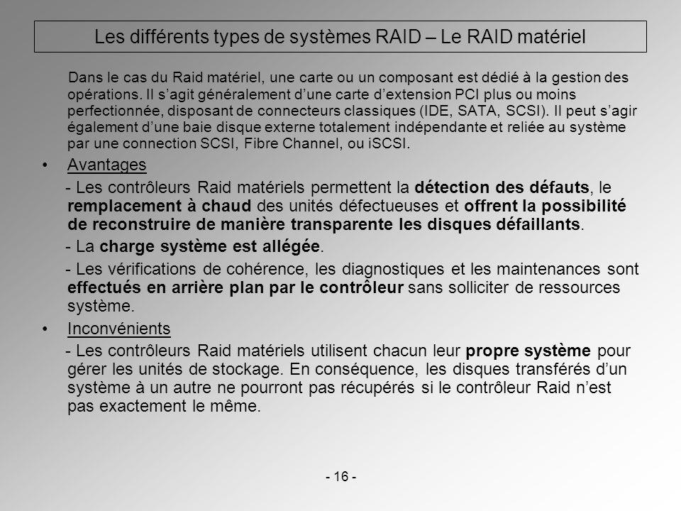 - 16 - Les différents types de systèmes RAID – Le RAID matériel Dans le cas du Raid matériel, une carte ou un composant est dédié à la gestion des opé