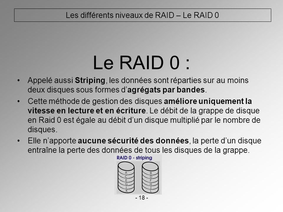 - 18 - Les différents niveaux de RAID – Le RAID 0 Le RAID 0 : Appelé aussi Striping, les données sont réparties sur au moins deux disques sous formes