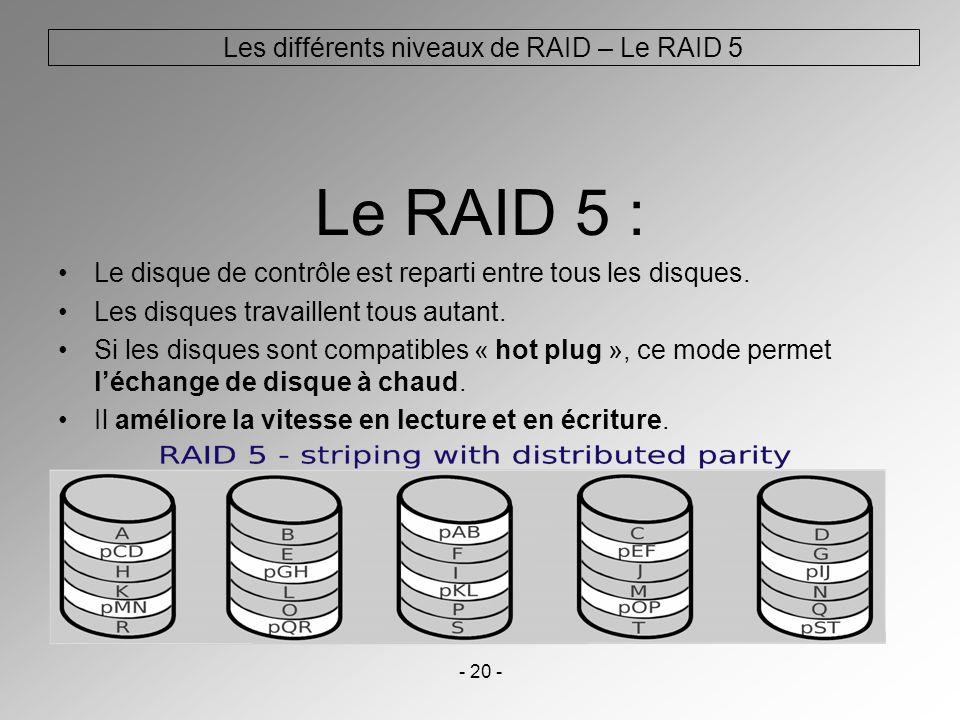 - 20 - Le RAID 5 : Le disque de contrôle est reparti entre tous les disques. Les disques travaillent tous autant. Si les disques sont compatibles « ho