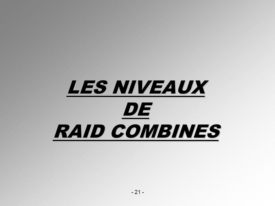 - 21 - LES NIVEAUX DE RAID COMBINES