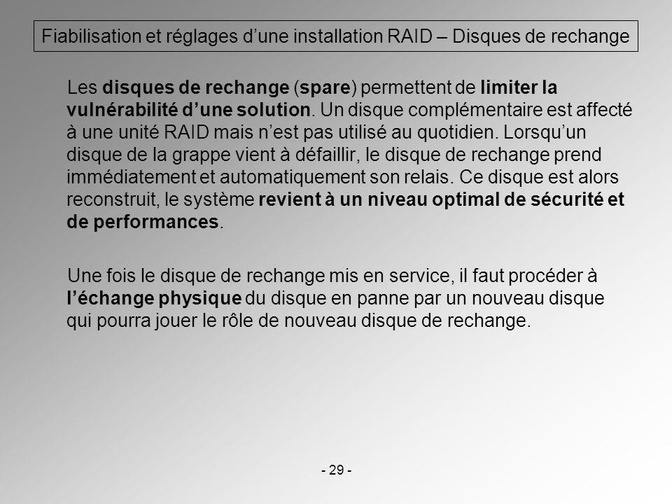 - 29 - Fiabilisation et réglages dune installation RAID – Disques de rechange Les disques de rechange (spare) permettent de limiter la vulnérabilité d