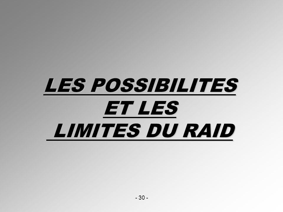 - 30 - LES POSSIBILITES ET LES LIMITES DU RAID