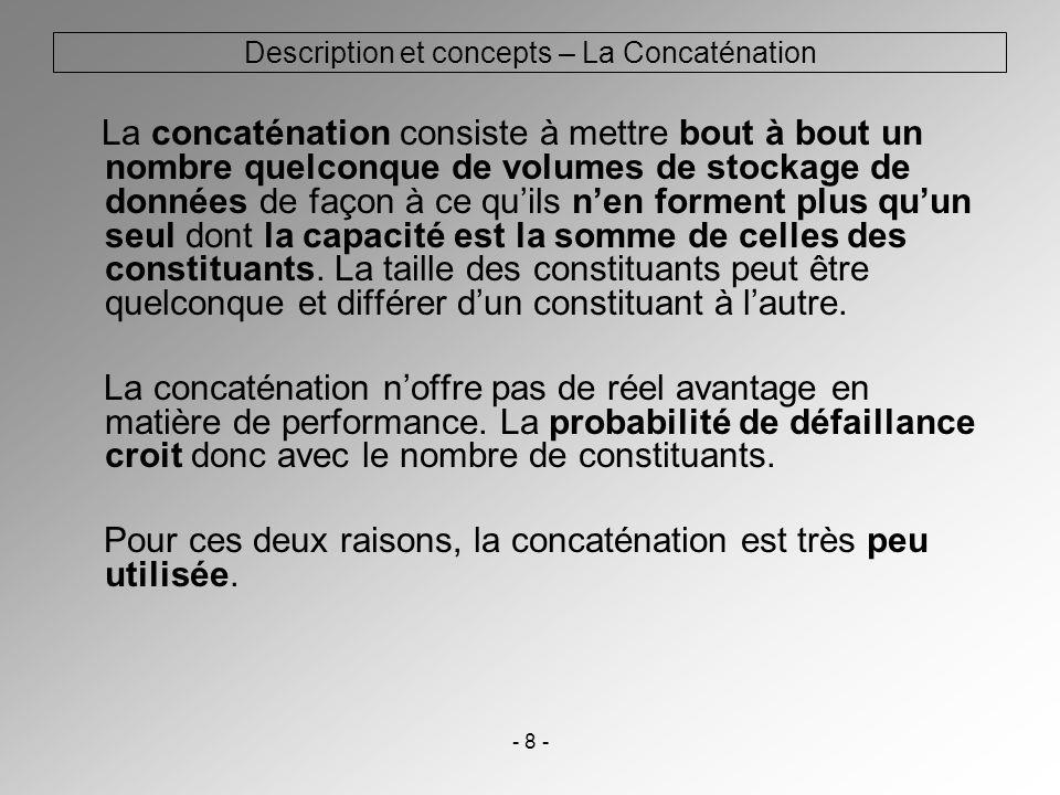 - 8 - Description et concepts – La Concaténation La concaténation consiste à mettre bout à bout un nombre quelconque de volumes de stockage de données
